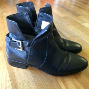Michael Kors Leather Booties with Strap Buckle 7M